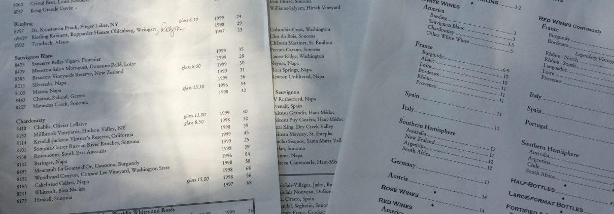 Windows on the World Wine Lists